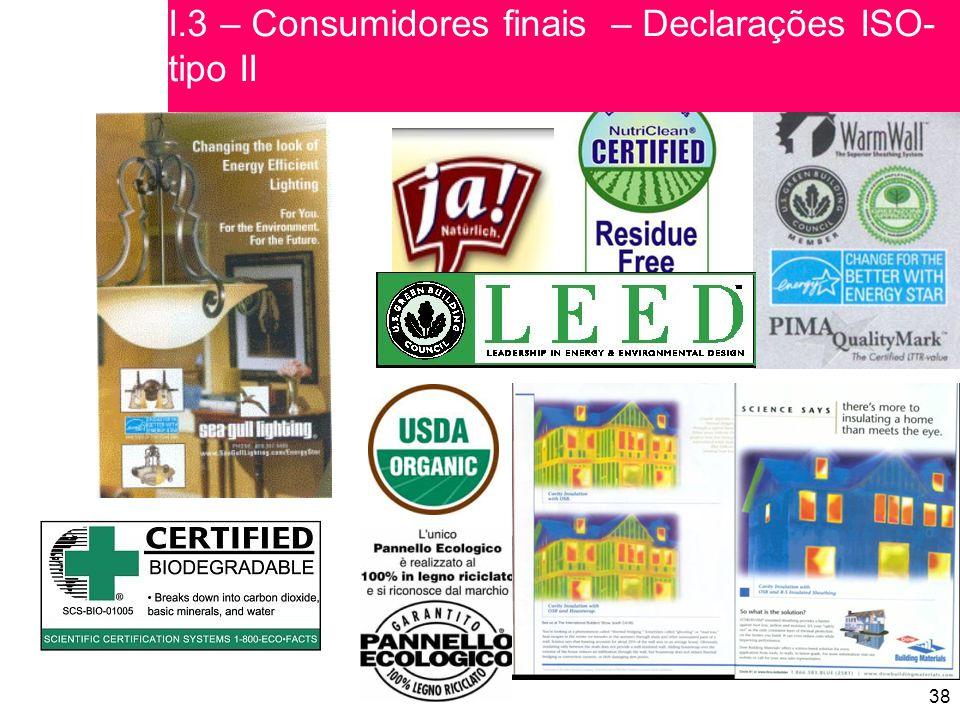 I.3 – Consumidores finais – Declarações ISO-tipo II