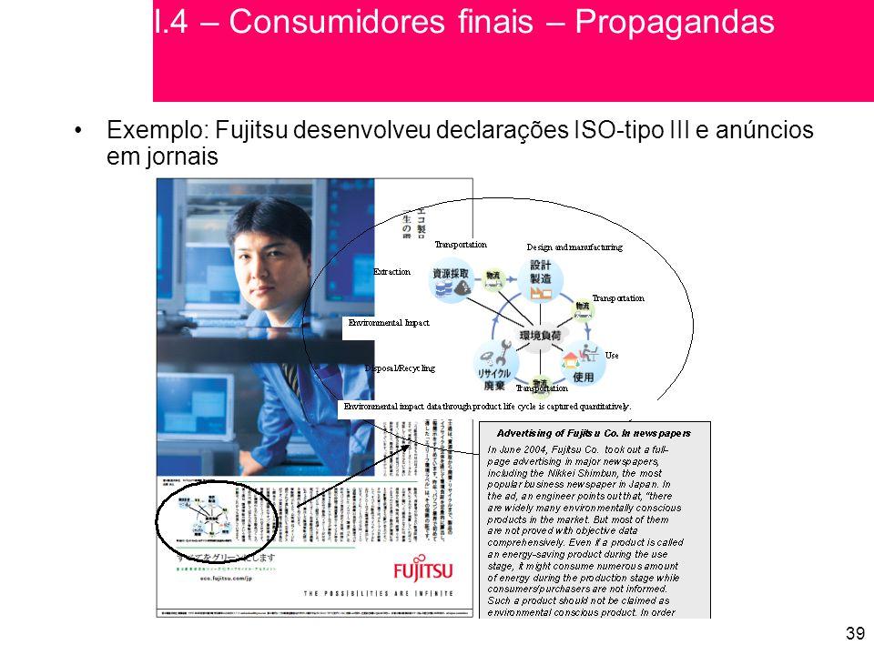 I.4 – Consumidores finais – Propagandas