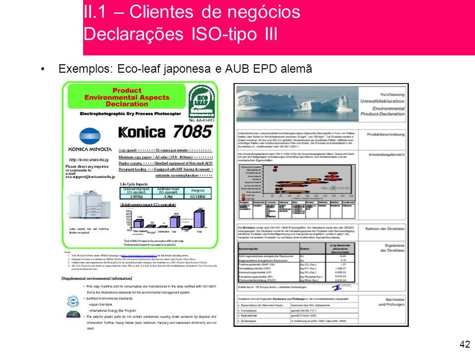 II.1 – Clientes de negócios Declarações ISO-tipo III