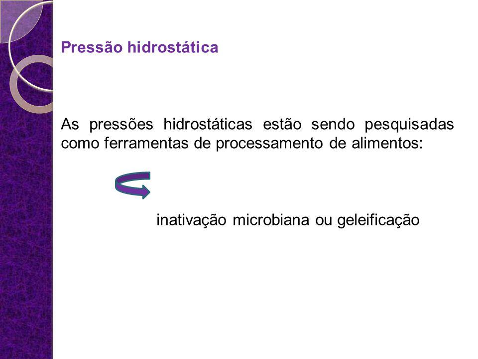 Pressão hidrostática As pressões hidrostáticas estão sendo pesquisadas como ferramentas de processamento de alimentos: