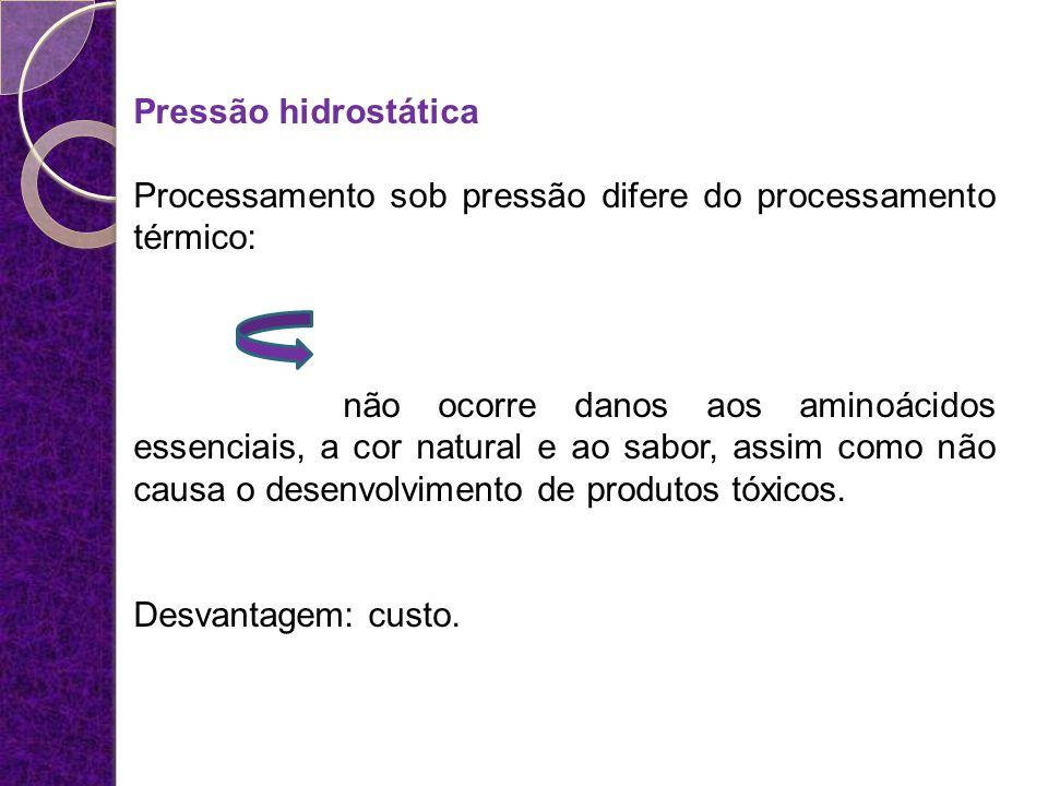 Pressão hidrostática Processamento sob pressão difere do processamento térmico: