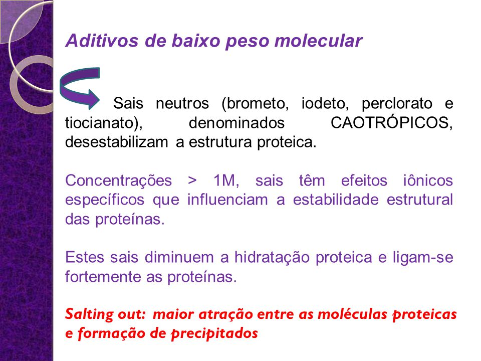 Aditivos de baixo peso molecular