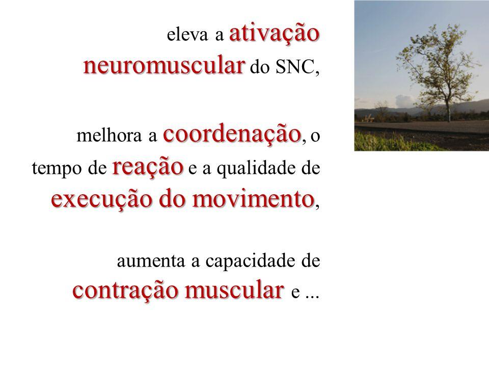 eleva a ativação neuromuscular do SNC, melhora a coordenação, o tempo de reação e a qualidade de execução do movimento, aumenta a capacidade de contração muscular e ...