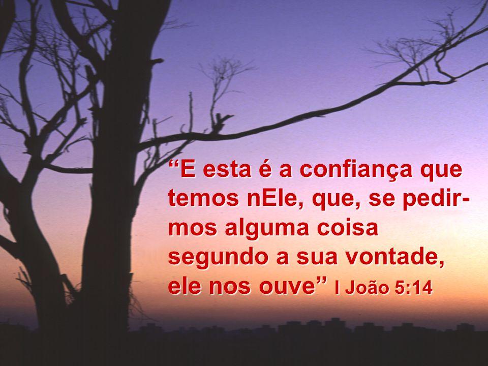 E esta é a confiança que temos nEle, que, se pedir-mos alguma coisa segundo a sua vontade, ele nos ouve I João 5:14