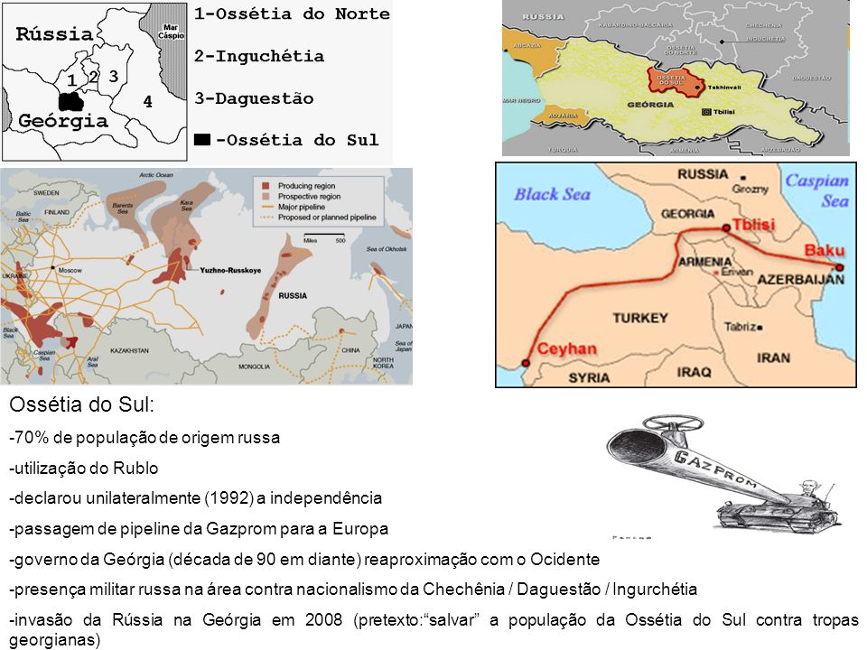 Ossétia do Sul: -70% de população de origem russa -utilização do Rublo