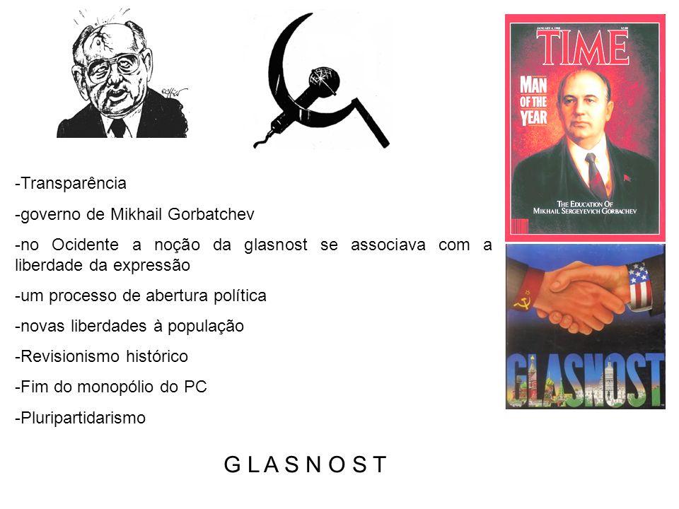 G L A S N O S T Transparência governo de Mikhail Gorbatchev