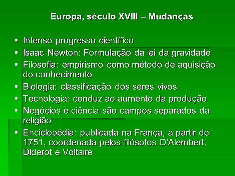 Europa, século XVIII – Mudanças