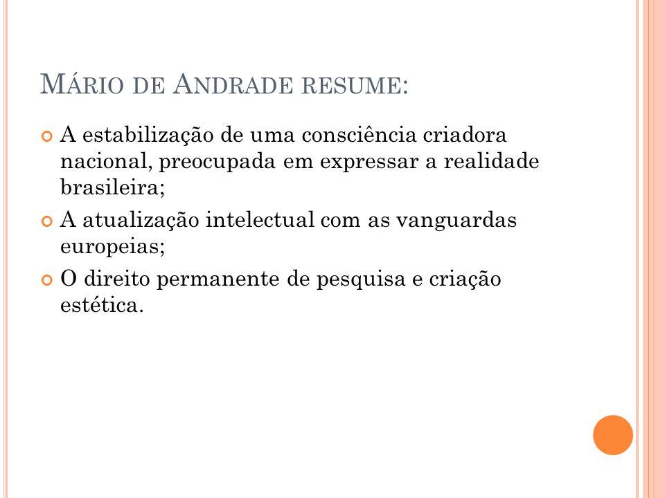 Mário de Andrade resume:
