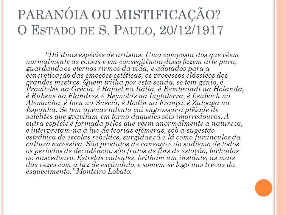 PARANÓIA OU MISTIFICAÇÃO O Estado de S. Paulo, 20/12/1917