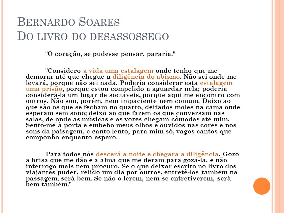 Bernardo Soares Do livro do desassossego