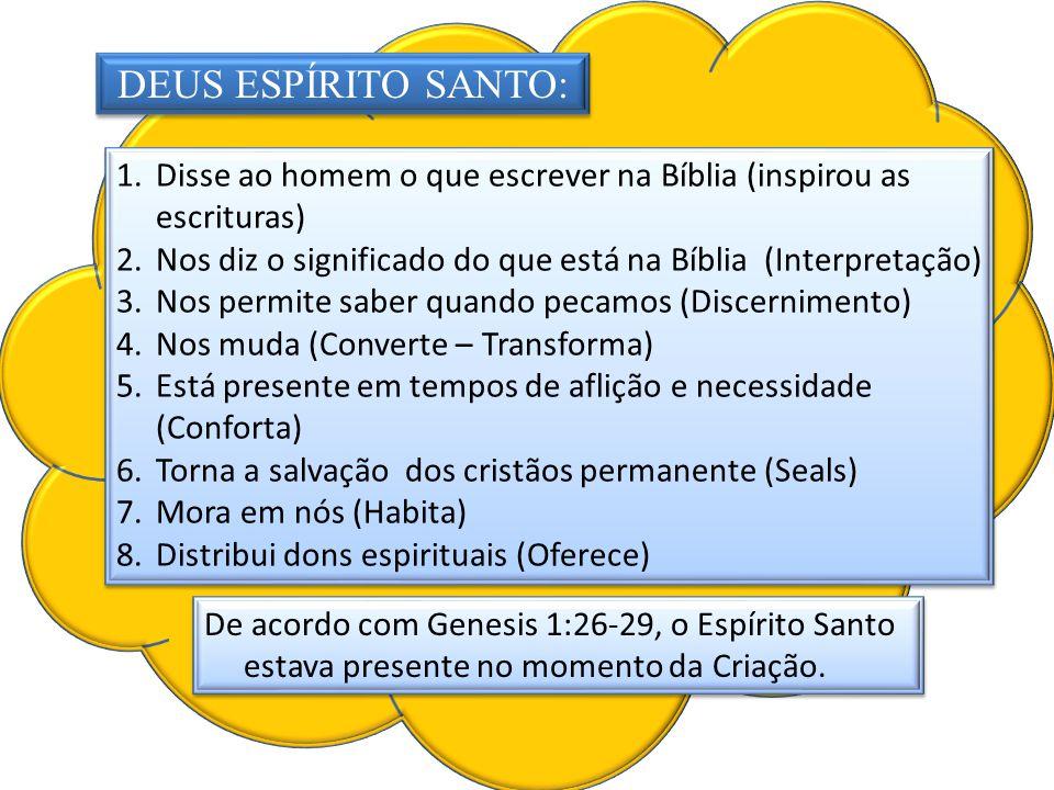 vertidos DEUS ESPÍRITO SANTO: Disse ao homem o que escrever na Bíblia (inspirou as escrituras)