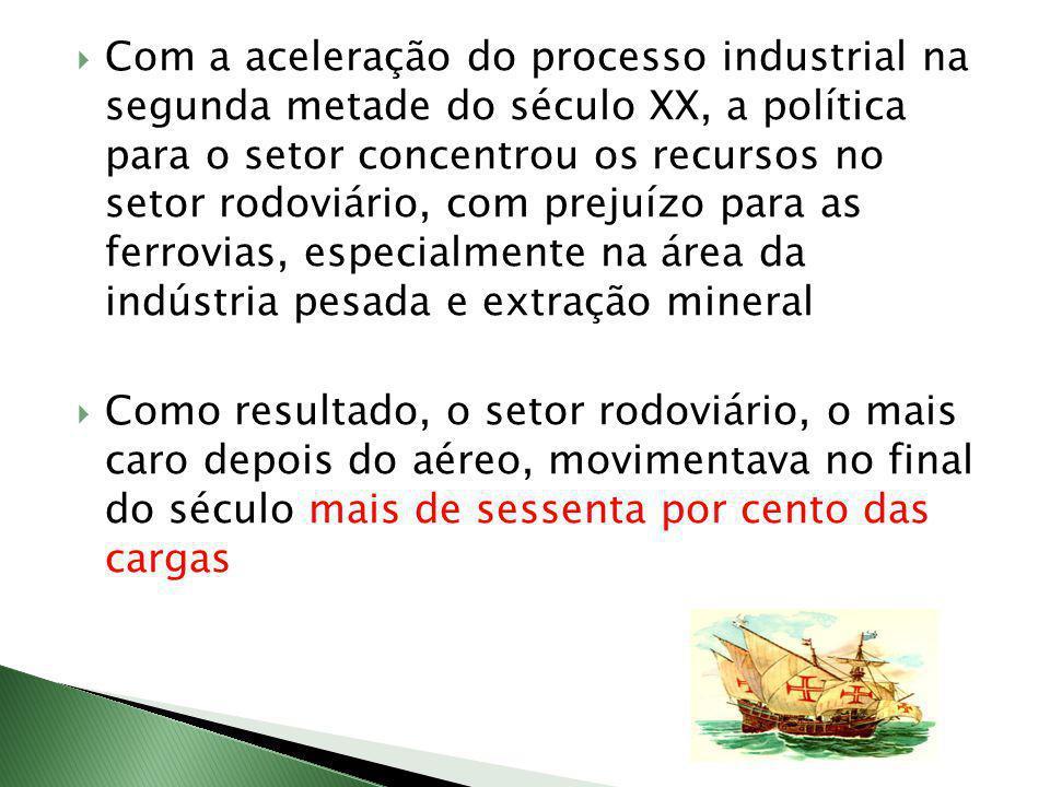 Com a aceleração do processo industrial na segunda metade do século XX, a política para o setor concentrou os recursos no setor rodoviário, com prejuízo para as ferrovias, especialmente na área da indústria pesada e extração mineral