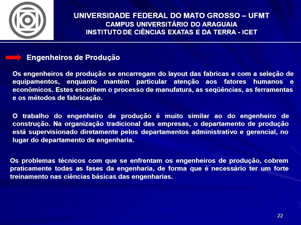 INSTITUTO DE CIÊNCIAS EXATAS E DA TERRA - ICET