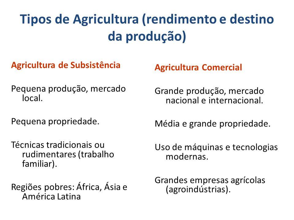 Tipos de Agricultura (rendimento e destino da produção)