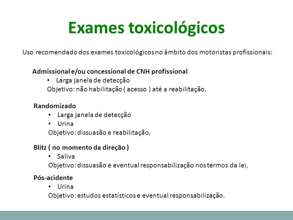 Exames toxicológicos Uso recomendado dos exames toxicológicos no âmbito dos motoristas profissionais:
