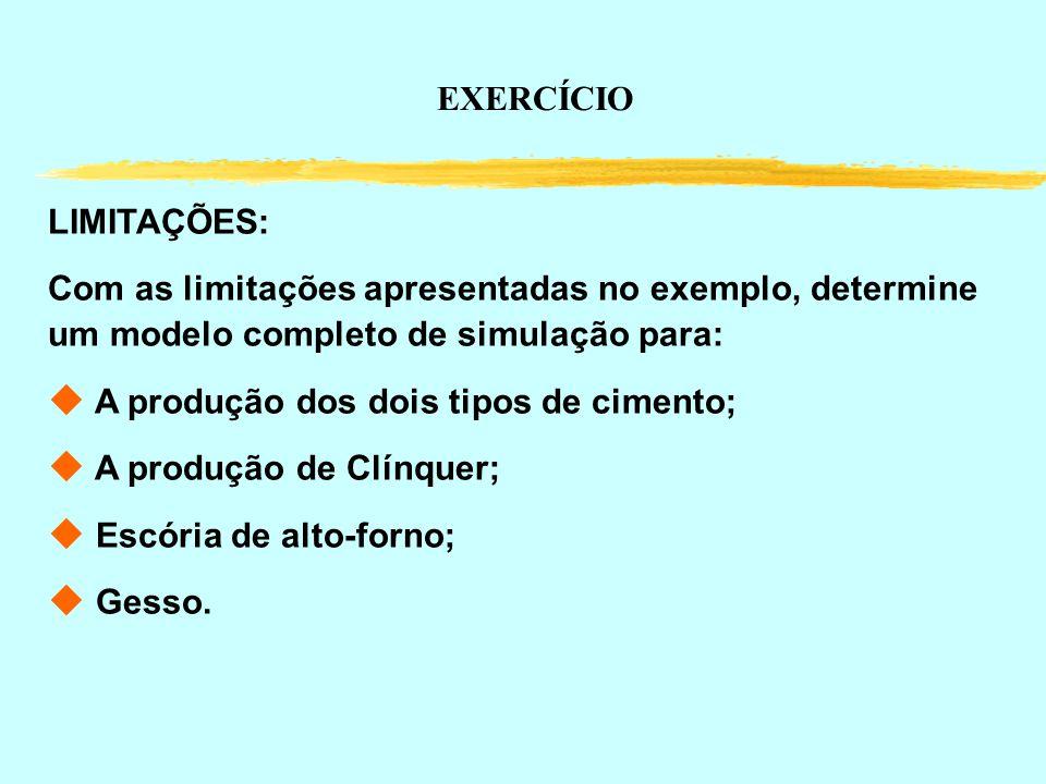 EXERCÍCIO LIMITAÇÕES: Com as limitações apresentadas no exemplo, determine um modelo completo de simulação para: