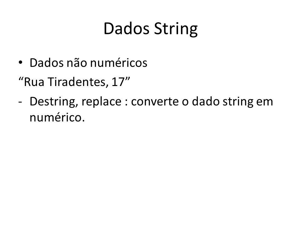Dados String Dados não numéricos Rua Tiradentes, 17
