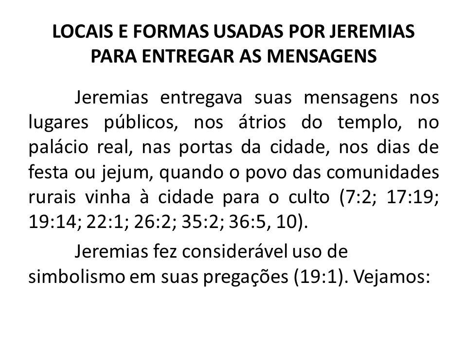 LOCAIS E FORMAS USADAS POR JEREMIAS PARA ENTREGAR AS MENSAGENS
