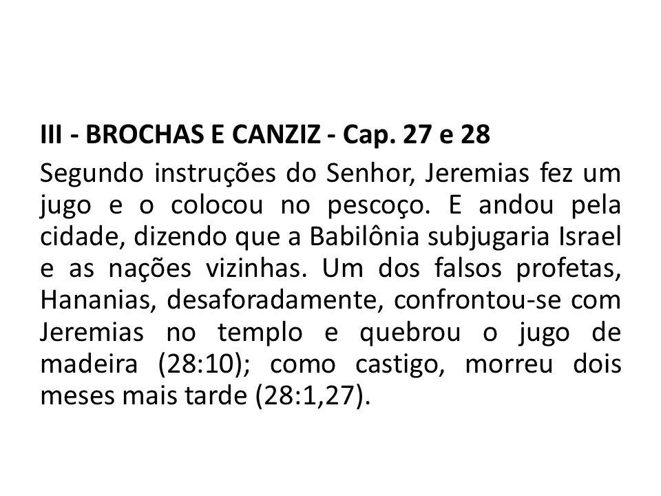 III - BROCHAS E CANZIZ - Cap. 27 e 28