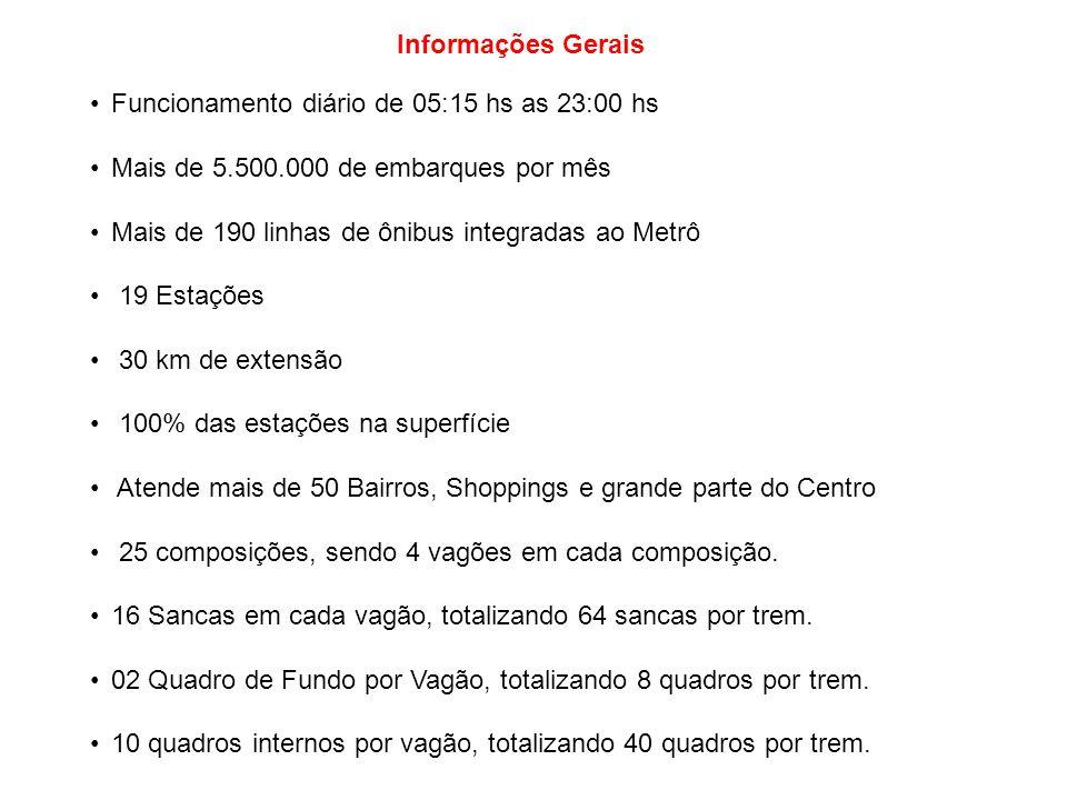 Informações Gerais Funcionamento diário de 05:15 hs as 23:00 hs. Mais de 5.500.000 de embarques por mês.