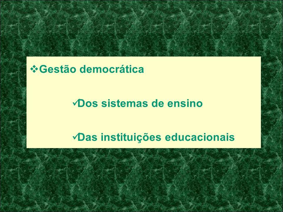 Gestão democrática Dos sistemas de ensino Das instituições educacionais
