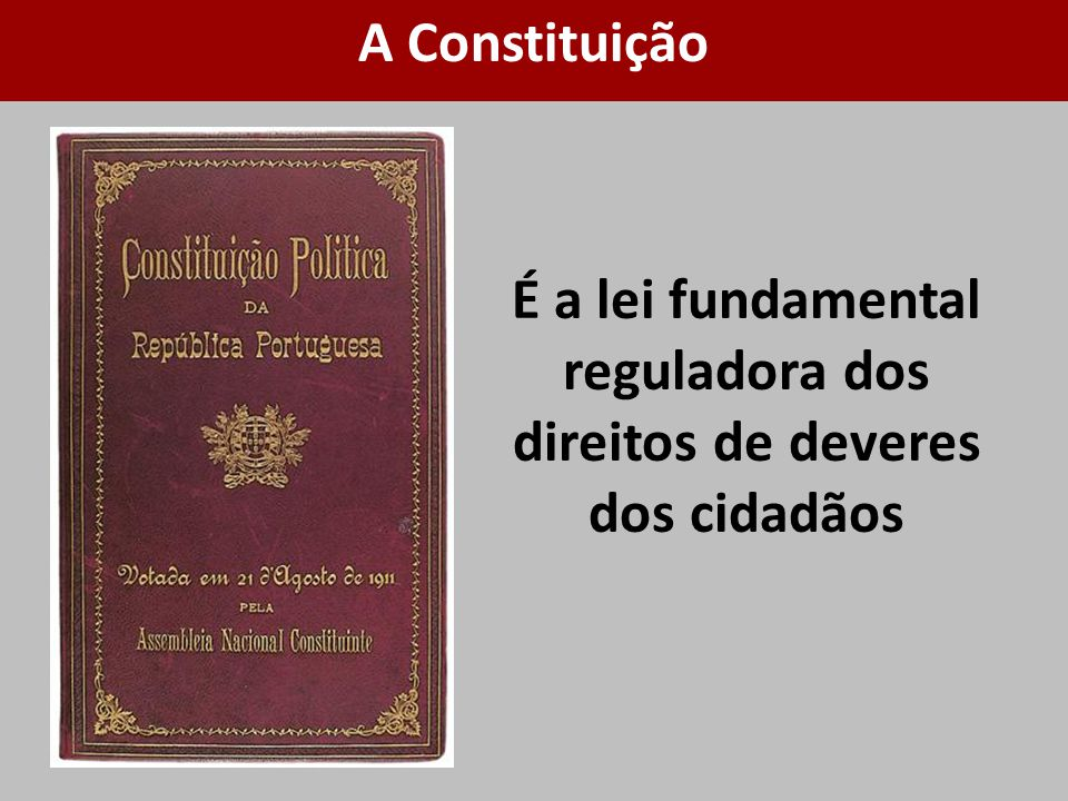 É a lei fundamental reguladora dos direitos de deveres dos cidadãos