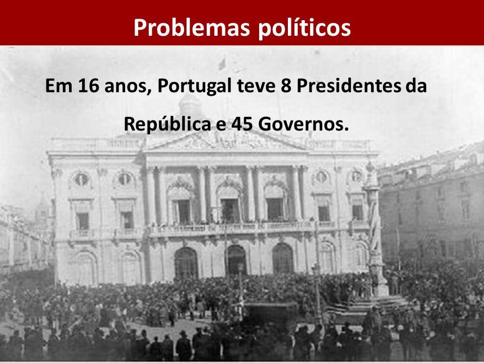 Em 16 anos, Portugal teve 8 Presidentes da República e 45 Governos.