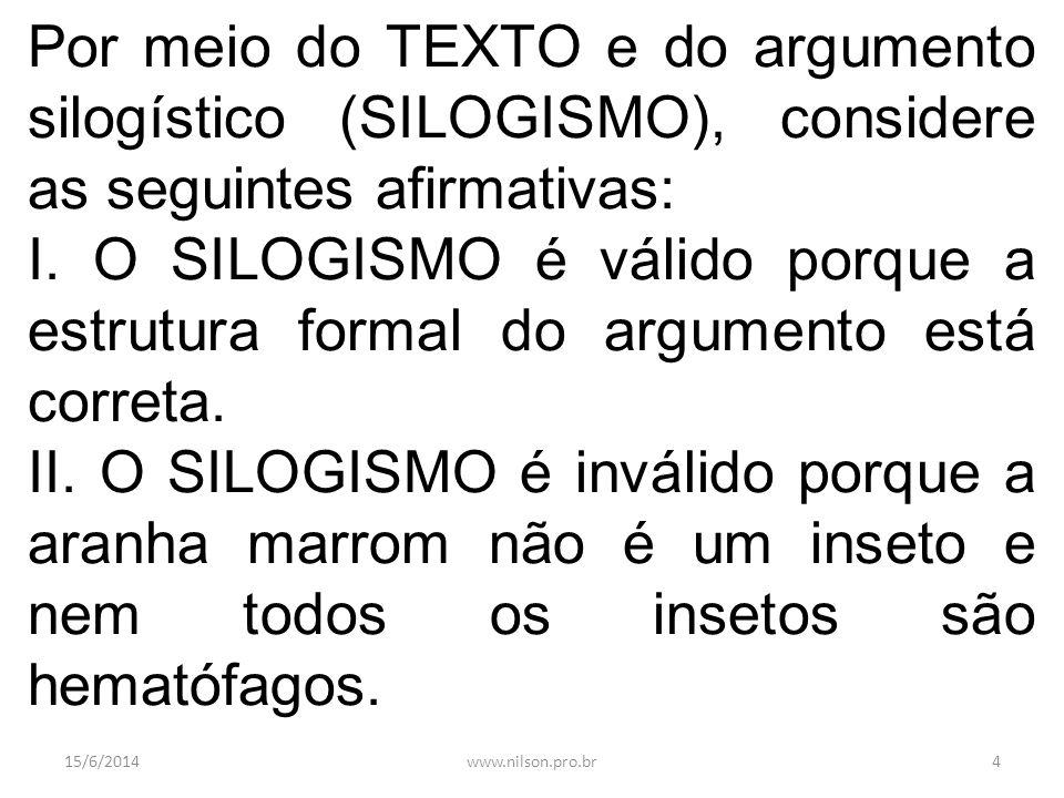 Por meio do TEXTO e do argumento silogístico (SILOGISMO), considere as seguintes afirmativas: