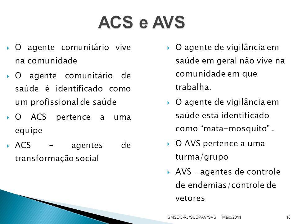 ACS e AVS O agente comunitário vive na comunidade