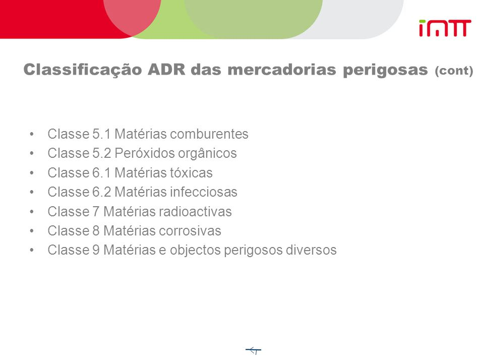 Classificação ADR das mercadorias perigosas (cont)
