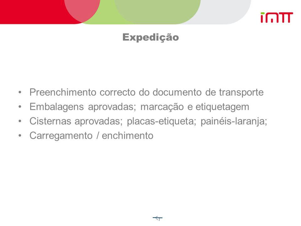 Expedição Preenchimento correcto do documento de transporte. Embalagens aprovadas; marcação e etiquetagem.