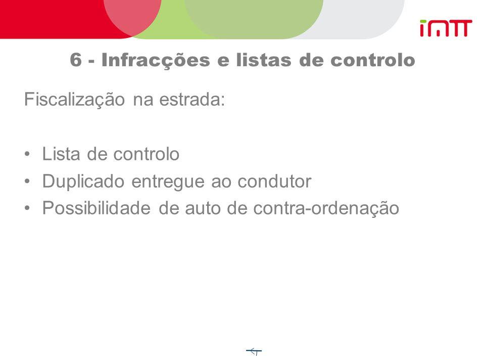 6 - Infracções e listas de controlo