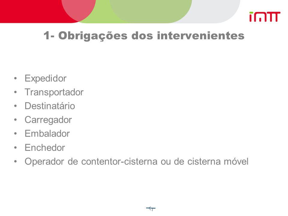 1- Obrigações dos intervenientes