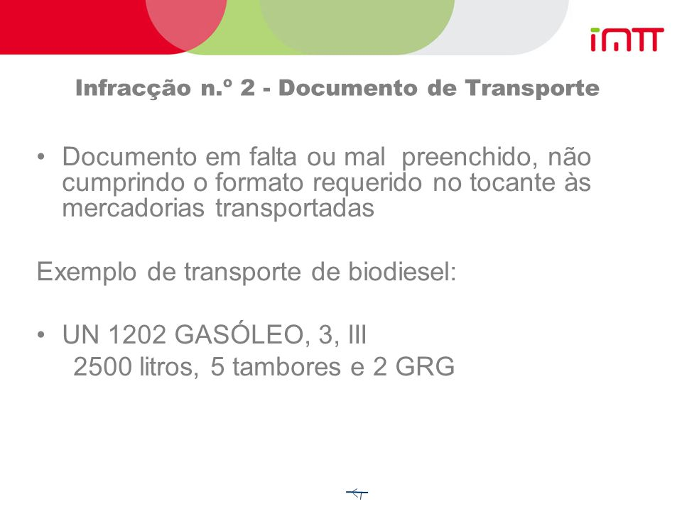 Infracção n.º 2 - Documento de Transporte