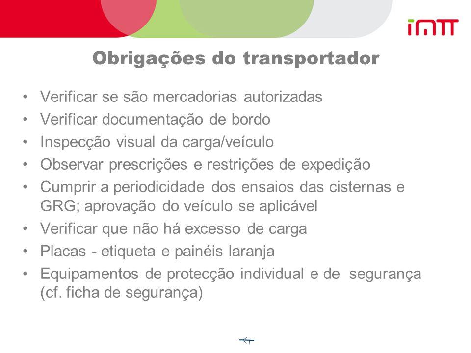 Obrigações do transportador