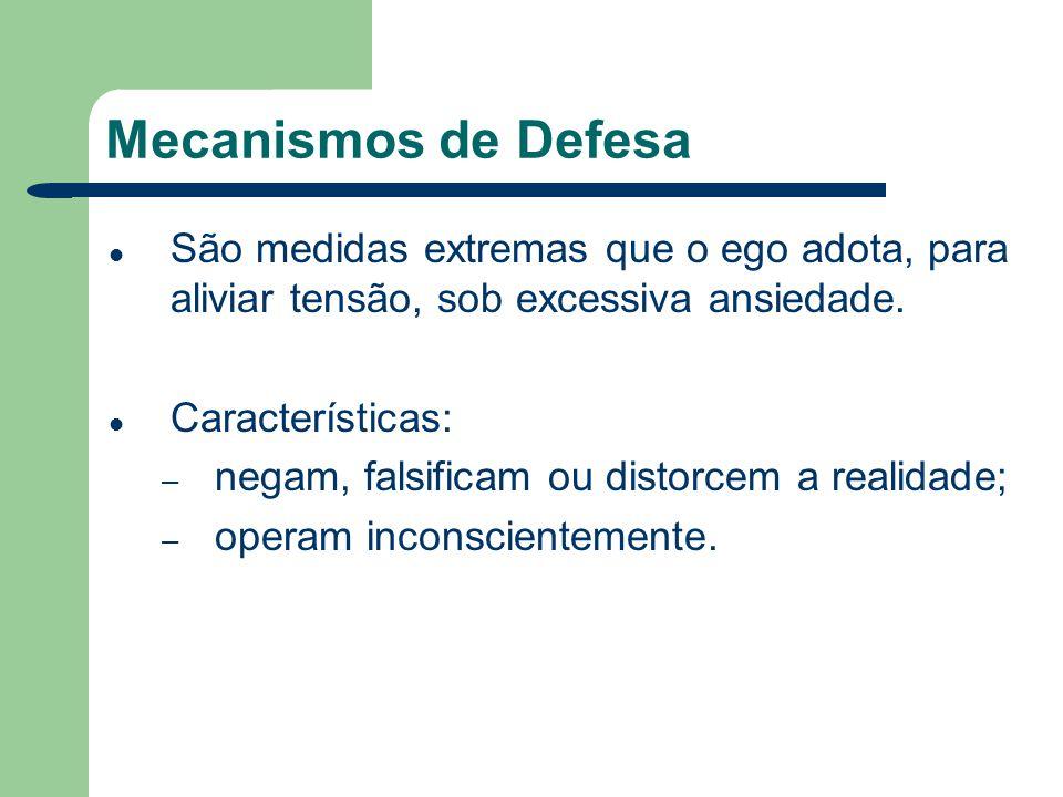 Mecanismos de Defesa São medidas extremas que o ego adota, para aliviar tensão, sob excessiva ansiedade.