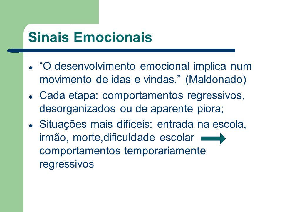 Sinais Emocionais O desenvolvimento emocional implica num movimento de idas e vindas. (Maldonado)