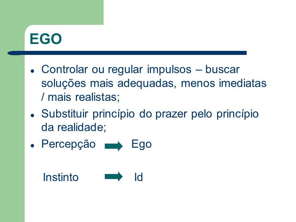 EGO Controlar ou regular impulsos – buscar soluções mais adequadas, menos imediatas / mais realistas;