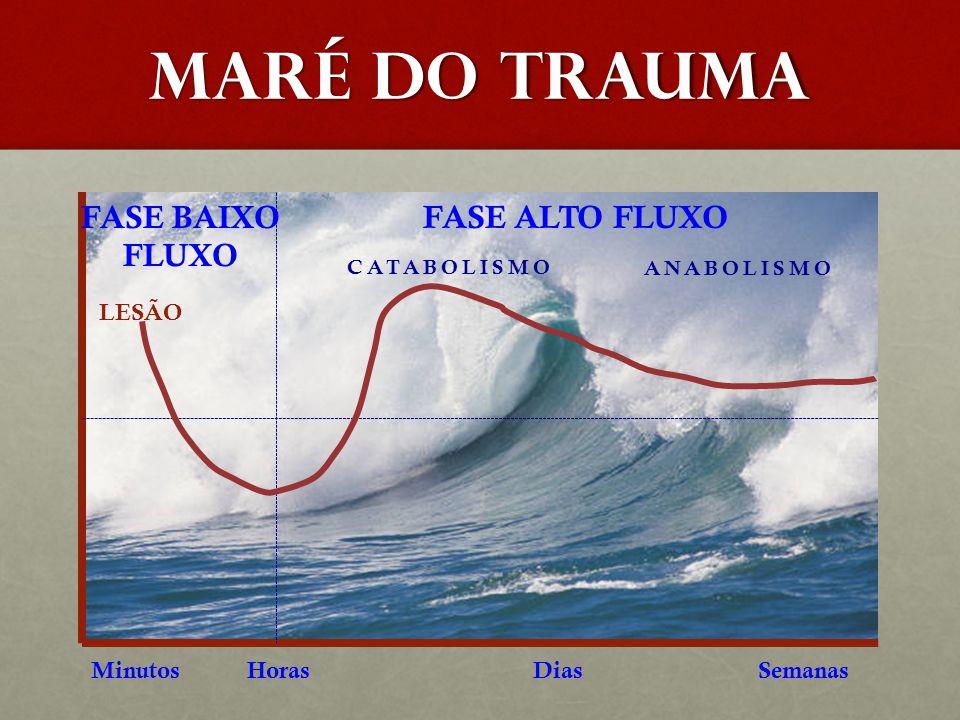 MARÉ DO TRAUMA FASE BAIXO FLUXO FASE ALTO FLUXO LESÃO Minutos Horas