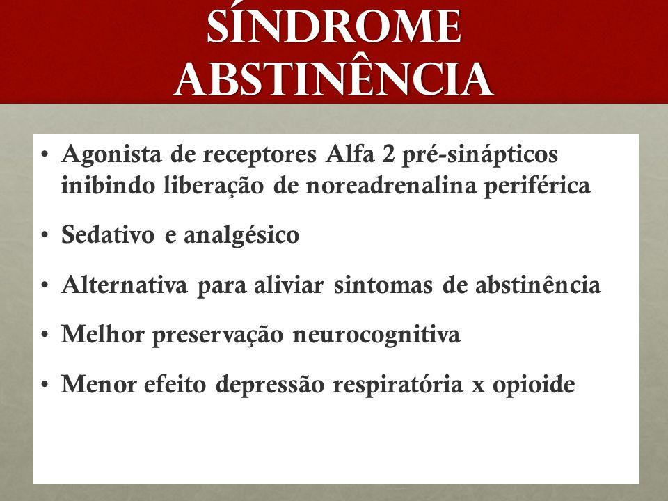 SÍNDROME ABSTINÊNCIA Agonista de receptores Alfa 2 pré-sinápticos inibindo liberação de noreadrenalina periférica.