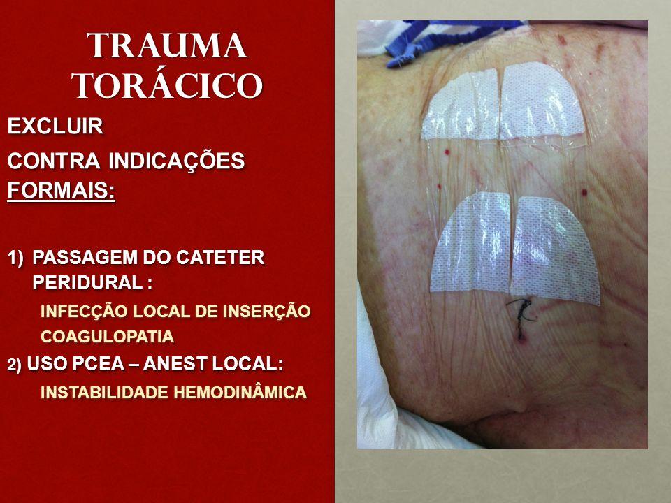 TRAUMA TORÁCICO EXCLUIR CONTRA INDICAÇÕES FORMAIS: