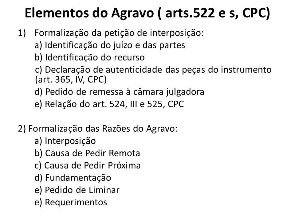 Elementos do Agravo ( arts.522 e s, CPC)