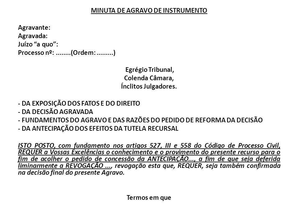 MINUTA DE AGRAVO DE INSTRUMENTO Agravante: Agravada: Juízo a quo : Processo nº: ........(Ordem: .........) Egrégio Tribunal, Colenda Câmara, Ínclitos Julgadores.