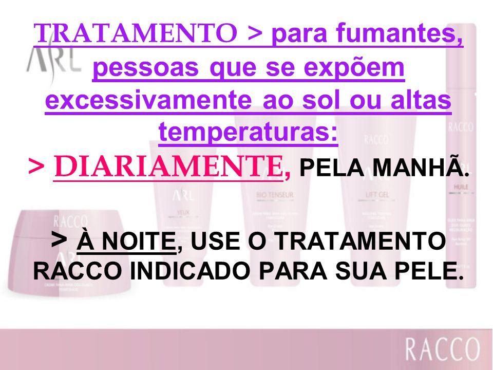 TRATAMENTO > para fumantes, pessoas que se expõem excessivamente ao sol ou altas temperaturas: > DIARIAMENTE, PELA MANHÃ.
