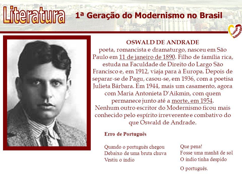 Literatura 1ª Geração do Modernismo no Brasil OSWALD DE ANDRADE
