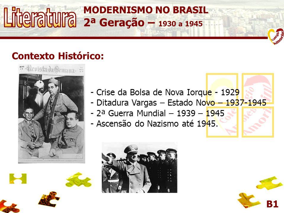 Literatura 2ª Geração – 1930 a 1945 MODERNISMO NO BRASIL