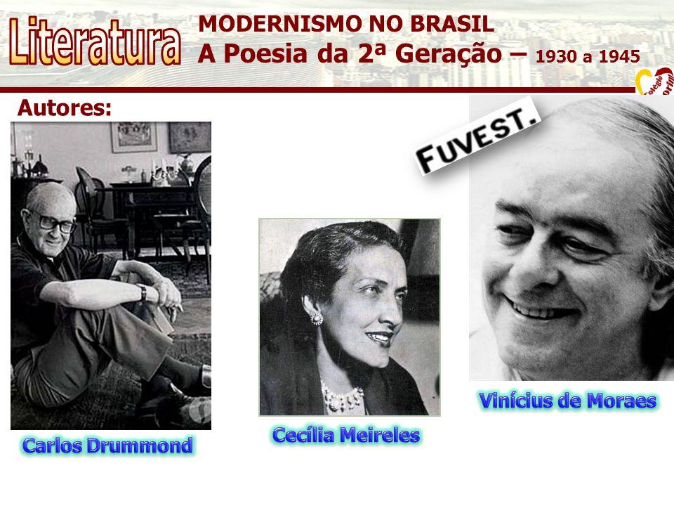 Literatura A Poesia da 2ª Geração – 1930 a 1945 MODERNISMO NO BRASIL