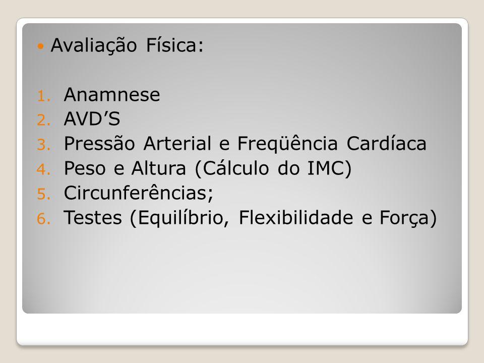 Avaliação Física: Anamnese. AVD'S. Pressão Arterial e Freqüência Cardíaca. Peso e Altura (Cálculo do IMC)