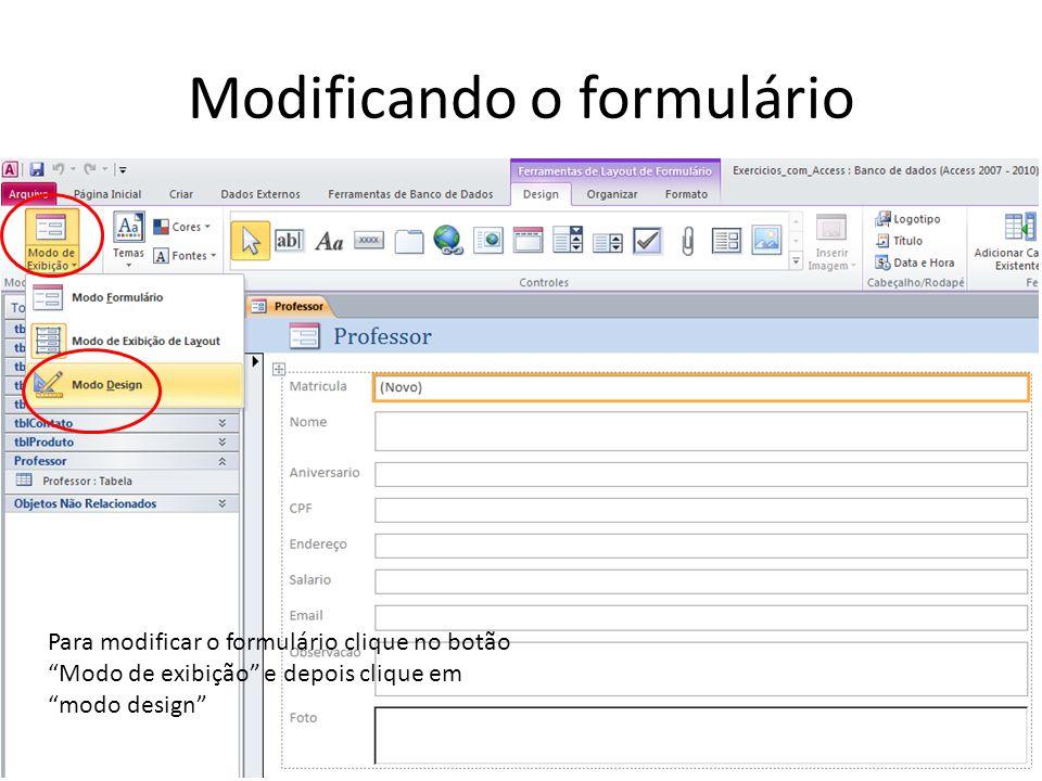 Modificando o formulário