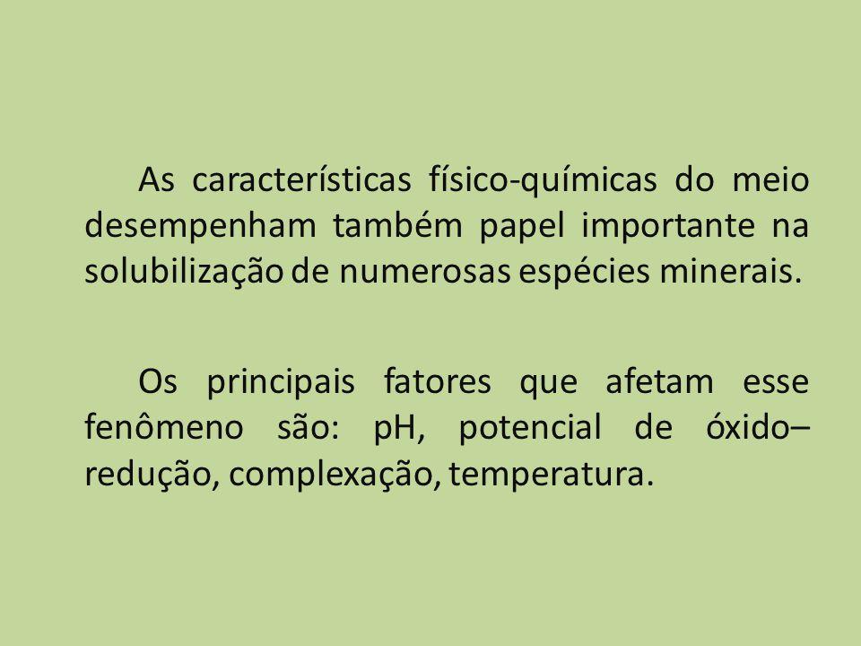 As características físico-químicas do meio desempenham também papel importante na solubilização de numerosas espécies minerais.